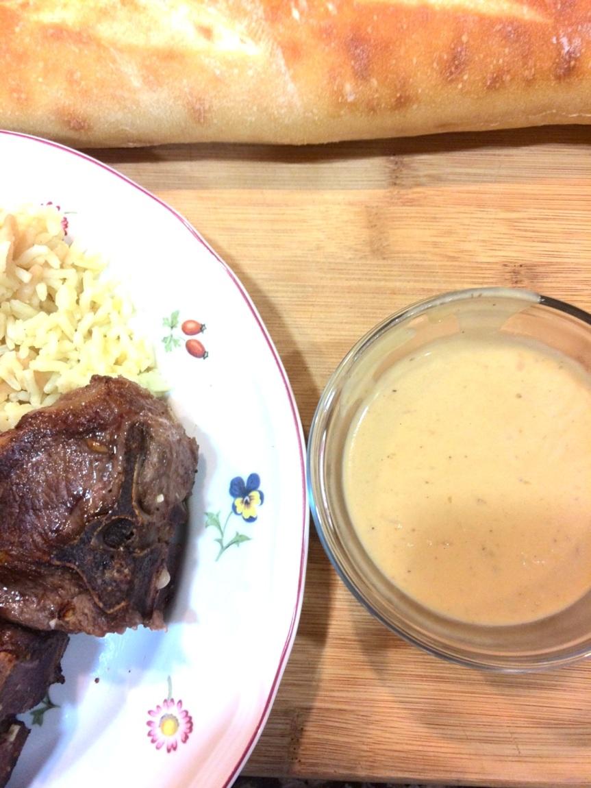 Pan Seared Lamb Loin Chops with Garlic CreamSauce