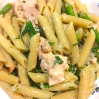 Salmon Poached in White Wine with Penne and Asparagus
