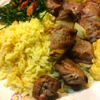 Lamb Kebabs, Rice Pilaf, Homemade Hummus