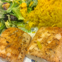 Grilled Mahi Mahi with Rice Pilaf and Summer Greens