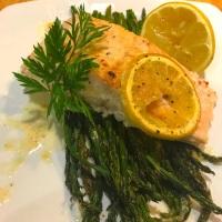 Sheet Pan Salmon and Asparagus; Charred Lemon Butter Sauce