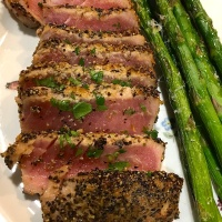 Charred Lemon Vinaigrette over Seared Ahi Tuna
